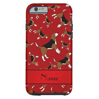 Personalized name red beagle dog pattern tough iPhone 6 case