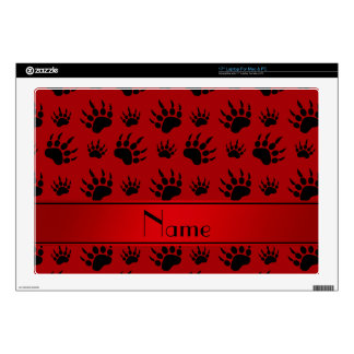 Personalized name red bear paw prints laptop decal