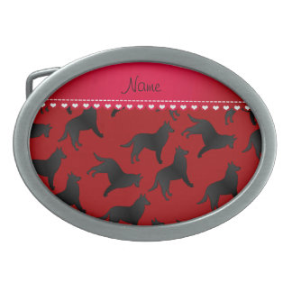 Personalized name red belgian sheepdog belt buckles