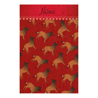 Personalized name red belgian tervuren dogs cork paper