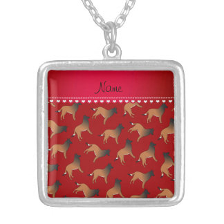 Personalized name red belgian tervuren dogs square pendant necklace