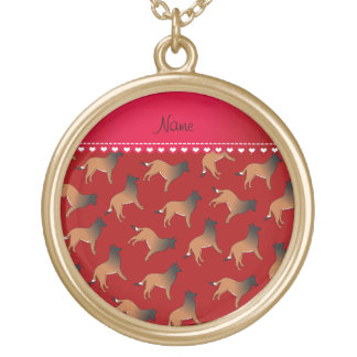 Personalized name red belgian tervuren dogs round pendant necklace