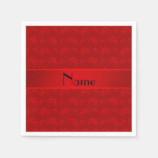 Personalized name red bicycles napkin