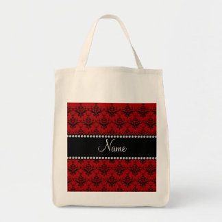 Personalized name Red black damask Bag
