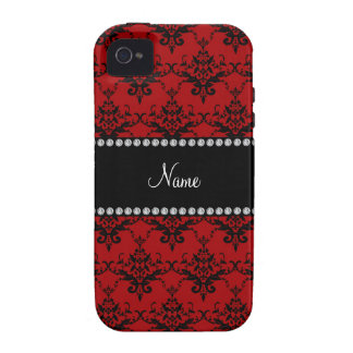 Personalized name Red black damask iPhone 4 Cases