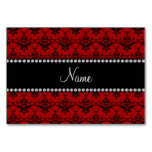 Personalized name Red black damask Table Cards