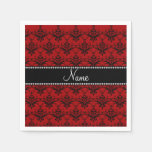 Personalized name Red black damask Disposable Napkin