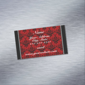 Personalized name Red black damask Magnetic Business Cards (Pack Of 25)