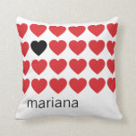 Personalized Name Red Black Hearts Valentines Day Pillow
