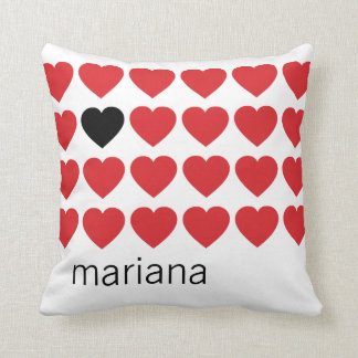 Personalized Name Red Black Hearts Valentines Day Throw Pillow