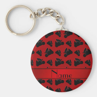Personalized name red black motorcycle racing basic round button keychain