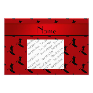 Personalized name red black paddleboarding photo print