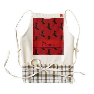 Personalized name red black paddleboarding zazzle HEART apron