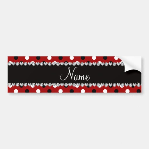 Personalized name red black white polka dots bumper stickers