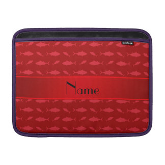 Personalized name red bluefin tuna pattern MacBook sleeves