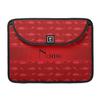Personalized name red bluefin tuna pattern MacBook pro sleeves