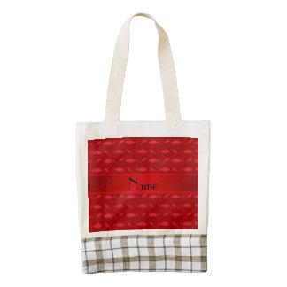 Personalized name red bluefin tuna pattern zazzle HEART tote bag
