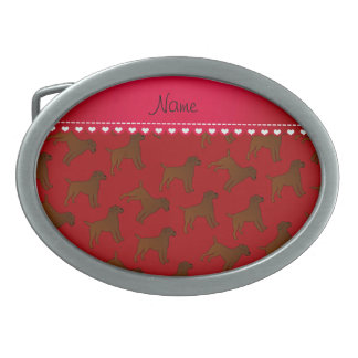 Personalized name red border terrier dogs oval belt buckles