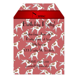 Personalized name red borzoi dog pattern 5x7 paper invitation card