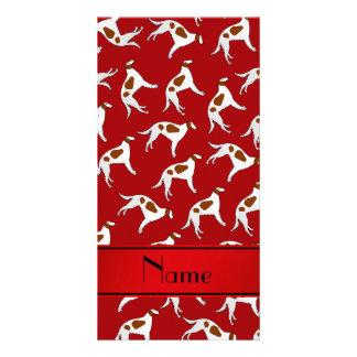Personalized name red borzoi dog pattern photo card