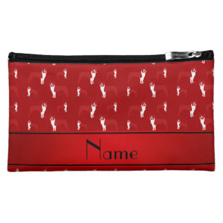 Personalized name red boston terrier makeup bags