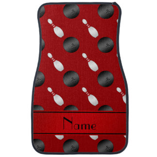 Personalized name red bowling balls pins car mat