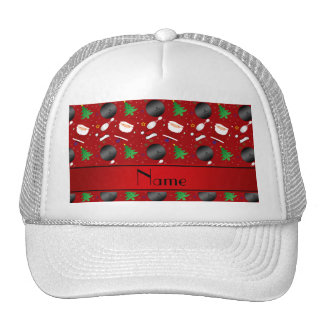 Personalized name red bowling christmas pattern trucker hat