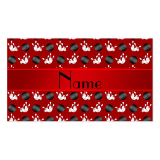 Personalized name red bowling pattern business card templates