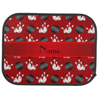 Personalized name red bowling pattern car floor mat