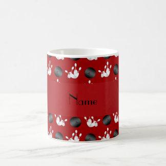 Personalized name red bowling pattern coffee mug