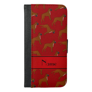 Personalized name red boxer dog pattern iPhone 6/6s plus wallet case