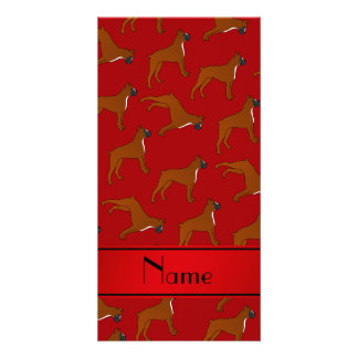 Personalized name red boxer dog pattern photo card