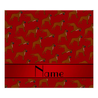 Personalized name red boxer dog pattern poster