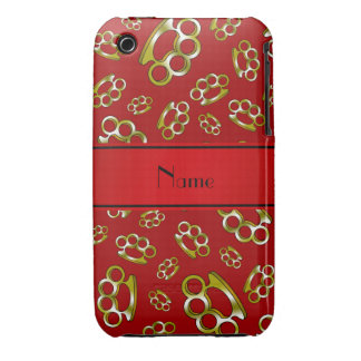 Personalized name red brass knuckles iPhone 3 covers