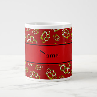 Personalized name red brass knuckles 20 oz large ceramic coffee mug