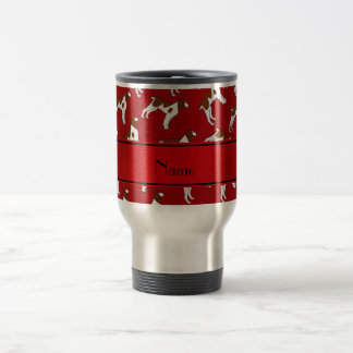 Personalized name red brittany spaniel dogs 15 oz stainless steel travel mug