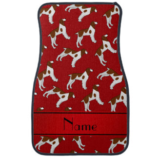 Personalized name red brittany spaniel dogs car floor mat