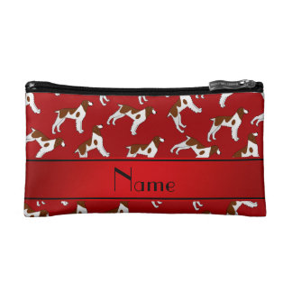 Personalized name red brittany spaniel dogs cosmetic bags