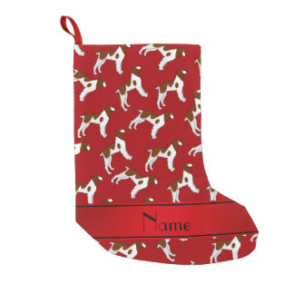 Personalized name red brittany spaniel dogs small christmas stocking