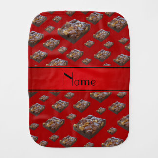 Personalized name red brownies burp cloth