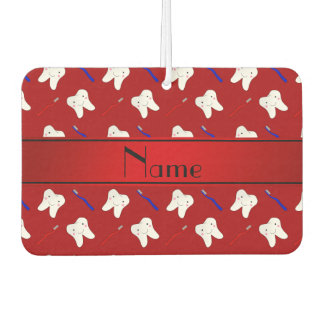 Personalized name red brushes and tooth pattern