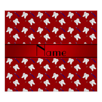 Personalized name red brushes and tooth pattern poster