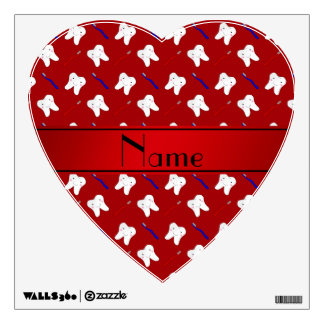 Personalized name red brushes and tooth pattern wall graphics