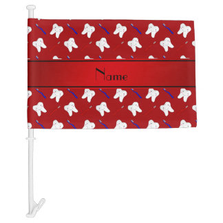 Personalized name red brushes and tooth pattern car flag