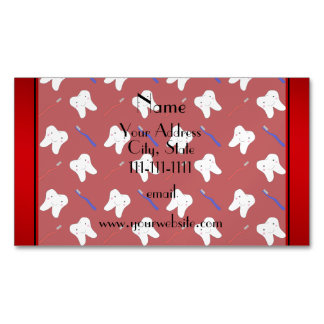 Personalized name red brushes and tooth pattern magnetic business cards (Pack of 25)