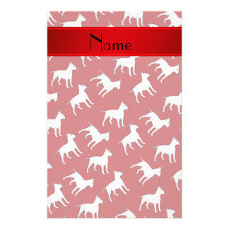 Personalized name red bull terrier dogs stationery
