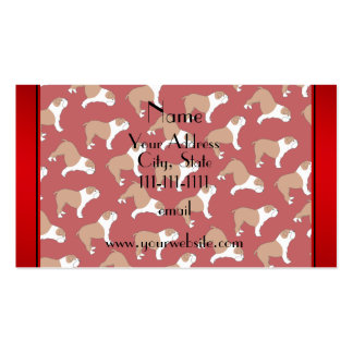 Personalized name red Bulldog Double-Sided Standard Business Cards (Pack Of 100)