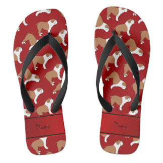 Personalized name red Bulldog Flip Flops