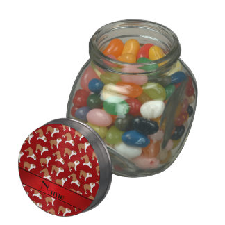 Personalized name red Bulldog Jelly Belly Candy Jars
