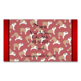 Personalized name red Bulldog Magnetic Business Cards (Pack Of 25)